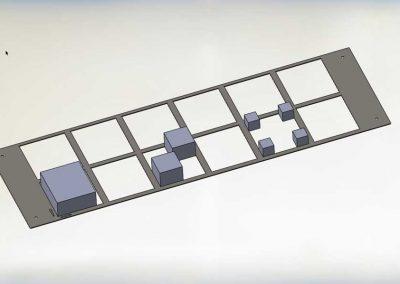 Schematische Darstellung der Bevorratungsmöglichkeit unterschiedlich grosser Werkstücke in den BMO Automation Werkstückschubladen durch Aufteilung mittels Rastergitter in flexibel nutzbare Gefache