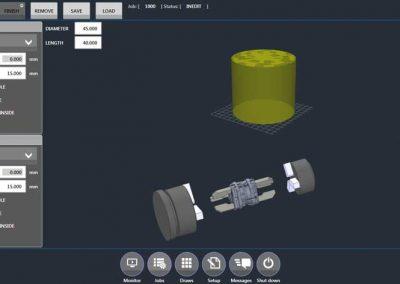 BMO Automation User Interface zeigt Setup von Spindel und Gegenspindel für ein Werkstück zur Drehbearbeitung