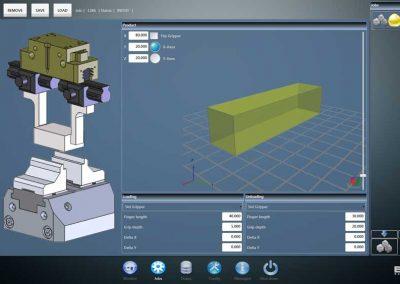 BMO Automation User Interface zeigt Einstellungsdialog für das Be- und Entladen des Greifers
