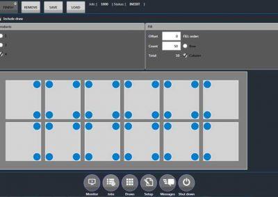 BMO Automation User Interface zeigt Einstellungen des Werkstückträgers mit Rastergitter für das Handling loser Teile
