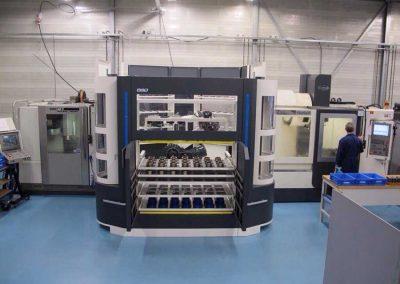 BMO Automation Titanium 180 an den beiden 3-Achs-Vertikalbearbeitungszentren DECKEL MAHO DMC 63 V und Hartford Power Centre PRO1000